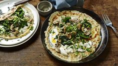 Pack your pancakes with spinach and mushrooms for a wonderfully moreish meal.