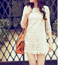 Short lace wedding dress with three quarter sleeves