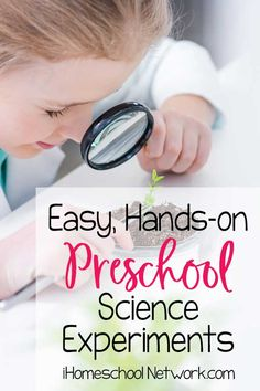 Easy, Hands-on Preschool Science Experiments - iHomeschool Network Hands-on, preschool science experiments are an amazing way to introduce science, and these easy experiments engage curious kids over and over! Science For Toddlers, Science Experiments For Preschoolers, Preschool Science Activities, Chemistry Experiments, Hands On Activities, Steam Activities, Homeschool Preschool Curriculum, Science Curriculum, Homeschooling