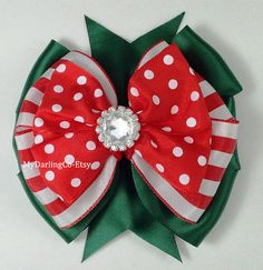 Red Green Holiday Hair Bow Red Christmas Dress by MyDarlingCompany