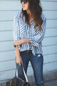 A gingham shirt is perfect for office layering—think under a sweater or try it with your weekend denim and sneakers.