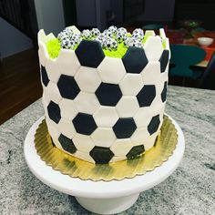 Soccer cake filled with chocolate soccer balls Soccer Cakes, Soccer Ball Cake, Football Birthday Cake, 12th Birthday Cake, Football Cakes, Soccer Party, Chocolate Footballs, Chocolate Decorations, Candy Buffet