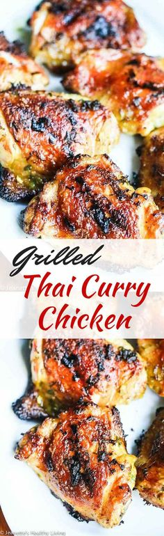 Grilled Thai Curry Cilantro Garlic Chicken by jeanetteshealthyliving: So easy and delicious, it's a go to family favorite. #Chicken #Thai #Curry