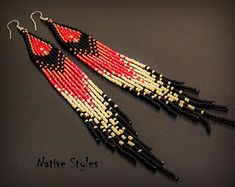 """7""""Native American Style Earrings~Long Glass Seed Beaded Southern~Natural Fringe~Ethnic Earthy Native Indian Style~Black Red Cream Seed Bead"""