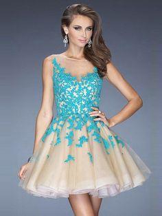 Scoop Neck Multi Colours Tulle Appliques Lace Short/Mini Spring Prom Dress