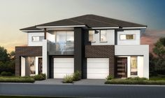 Masterton Homes Eclipse Timeless Facade Duplex House Plans, New House Plans, House Floor Plans, Townhouse Designs, Duplex House Design, Double Storey House, Duplex Apartment, Storey Homes, New Home Builders