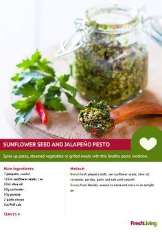 Apart from their feel-good power, the sunflower seeds in this spicy condiment are also packed with skin-protecting vitamin E and free radical-fighting antioxidants Cooking Tips, Cooking Recipes, Healthy Pesto, Marinade Sauce, Steamed Vegetables, South African Recipes, Healthy Grilling, Recipe Search, Sunflower Seeds