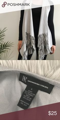 INC Gray Suede Fringe Vest Adorable fringe vest for the winter or fall! Comfortable, stylish and perfect for layering. Not to mention, it looks great with a pair of booties. Has only been worn twice and is in EXCELLENT condition. All reasonable offers welcome! INC International Concepts Jackets & Coats Vests