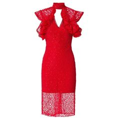 Alexis Women's Halley Dress ($598) ❤ liked on Polyvore featuring dresses, ruffle cocktail dress, sheer cocktail dress, red holiday dress, red evening dresses and cocktail dresses