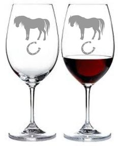horse and horseshoe sand carved etched choice of pilsner beer mug pub wine glass coffee mug water glass - Etched Wine Glasses