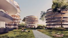 Gallery of Atelier Thomas Pucher's Urban Terraces to be Built in Vienna – 1 - Terrasse Futuristic Architecture, Residential Architecture, Beautiful Architecture, Architecture Details, Architecture Visualization, Chinese Architecture, Round Building, Big Building, French Balcony