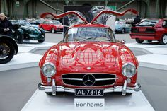 """A Mercedes-Benz 300 SL """"Gullwing"""" Coupe is displayed during an exhibition of vintage and classic cars  by Bonhams auction house at the Grand Palais during the Retromobile week in Paris, France, February 8, 2017. (Photo by Benoit Tessier/Reuters)"""