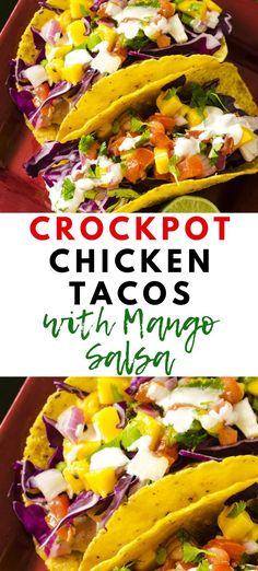 Slow Cooker Chicken Tacos with Mango Salsa – Wendy Polisi If you are looking for dinner bliss, you are going to love these Slow Cooker Chicken Tacos with Mango Salsa! Perfectly seasoned chicken breast pairs perfectly with a fruity mango salsa. Best Crockpot Chicken, Slow Cooker Chicken Tacos, Shredded Chicken Tacos, Healthy Chicken Recipes, Mexican Food Recipes, Crockpot Meals, Mango Recipes For Dinner, Mango Salsa Chicken, Chicken Cooker