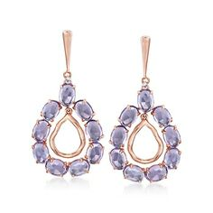 12.00 ct. t.w. Amethyst Teardrop Earrings With White Topaz Accents in 14kt Rose Gold Over Sterling