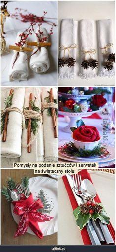 Jak udekorować stół na święta? - Pomysły na podanie sztućców i serwetek na świąteczny stole.