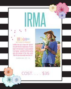 fun flowy lularoe irma shirt, soft and comfortable, fun patterns, stripes, kate spade design, flowers, women's fashion, sleeves, work wear, great with leggings
