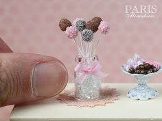 Pink and Chocolate Cake Pops Miniature Food in by ParisMiniatures