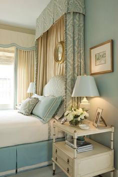 blue & brown bedroom/curtains for headboard from ceiling