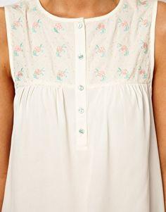 Image 3 ofASOS Sleeveless Blouse With Floral Embroidered Yoke