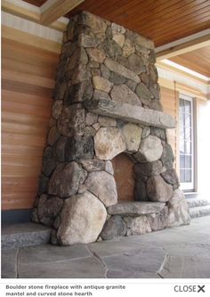 Natural Stone Fireplaces, Rock Fireplaces, Rustic Fireplaces, Stone Chimney, Cabin Fireplace, Outdoor Fireplace Designs, Outdoor Stone, Stone Masonry, Rustic Stone