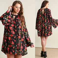 Umgee BOHO 70's Black Floral Bell Sleeve Trapeze Swing Dress or Tunic Top 1X-2X…