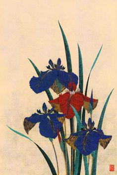 """Sugiura Kazutoshi (1938-) 杉浦和利  """" Iris No.41 花菖蒲No41、1983  """""""