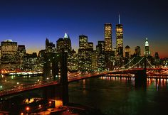 World Trade Center, 1970-2001: Twin Towers Skyline at Night