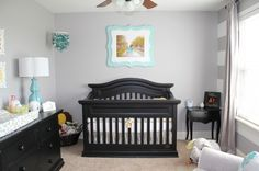bedroom idea - if this kid gets its own room - love the gray and teal (i would throw in some coral if its a girl). We have black nursery furniture so i love this.