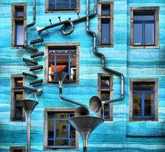 Kunsthofpassage Singing Drain Pipes: Dresden Germany