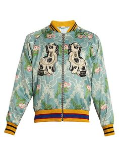Gucci Spaniel and bee appliqué jacquard bomber jacket