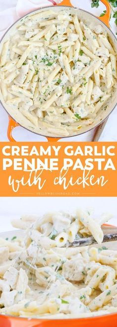 Tender pasta and chicken smothered in a creamy, garlicky sauce - This Creamy Garlic Penne Pasta with Chicken is a delicious and easy meal for any night of the week! meals healthy clean eating Creamy Garlic Penne Pasta with Chicken Diet Recipes, Chicken Recipes, Cooking Recipes, Healthy Recipes, Cake Recipes, Meals With Chicken, Delicious Recipes, Cheap Recipes, Chicken Pasta