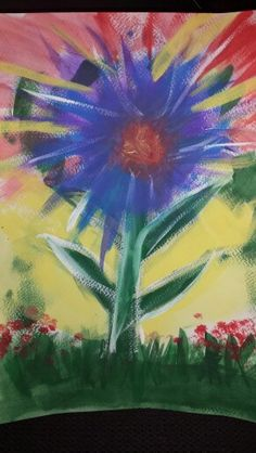 Abstract Acrylic painting. . Flower