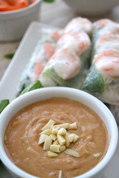 5 Ingredient Easy Peanut Sauce - The Fresh Find Homemade Peanut Sauce, Easy Peanut Sauce, Peanut Sauce Recipe, Sauce Recipes, Spring Roll Peanut Sauce, Spring Roll Sauce, Vegan Recipes Easy, Asian Recipes, Vegetarian Recipes