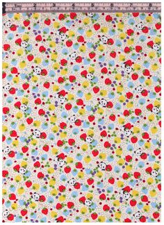 HALF YARD Kobayashi - Pandas Strawberries and Flowers - WHITE Colorway - Sweets Forest - Poplin - Project By Cotton by fabricsupply on Etsy