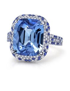 10.95 carat Pastel Blue Sapphire Spotted Ring