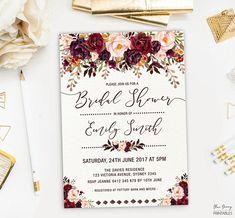 Rustic Floral Bridal Shower Invitation. Boho Wedding Shower Invite. Autumn Watercolor Burgundy Pink Flowers. High Tea. Kitchen Tea