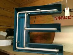 Sign, Neon, Teal, Letter E from Black Dog Salvage