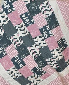 Modern Pink White and Navy Baby Girl Quilt from by RichardQuilts, $95.00 (idea- I like the staggered blocks)
