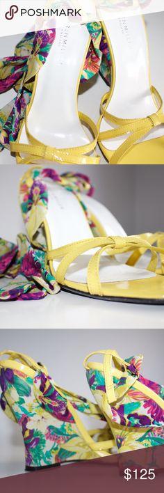 Yellow, Ribbon Multi-color Wedges Yellow, Ribbon Multi-color Wedges Karen Millen Shoes Espadrilles