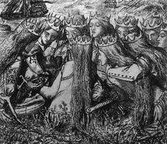 King Arthur and the Weeping Queens, 1857, Dante Gabriel Rossetti Canvas Art, Canvas Prints, Art Prints, King Arthur's Knights, Pre Raphaelite Paintings, Pre Raphaelite Brotherhood, Dante Gabriel Rossetti, John Everett Millais, John William Waterhouse