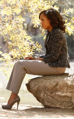 """Akris Punto Jacket, Armani Pants - Olivia Pope's Top 10 Looks on Scandal  """"Olivia's looks are never a suit. We never buy a complete suit,"""" explains Lyn. """"We usually are mixing and matching. We're trying to create our own look."""""""