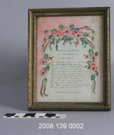 Hand drawn card commemorating a wedding. Art by Grace Marlott. Poem by Ann Margaret Schmitt. Pink background with arched, pink flower design with ribbons and leaves around poem. Poem set in a light blue area. Capital letters at front of words highlighted with gold ink. Rings and wire on back for hanging. (1940) Missouri History Museum