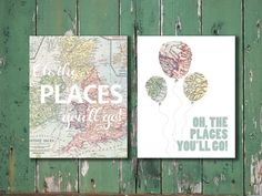 Personalized boy Oh, the places you'll go Dr. Seuss vintage map prints for nursery or kid's room baby shower new mom gift // custom colors on Etsy, $28.00