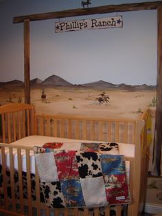 I love this nursery- might be pretty tough to recreate the mural(s), but I love the feel it gives the room.