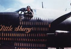 """Little Sherry - 320th BG B26 - Wally Boblitt in Corsica, 1944  Boblitt is the guy I (O'Mahony) went up with when we feathered  both engines """"just for the hell of it""""."""