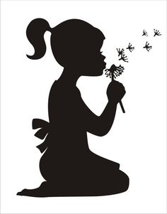 DIY Signs Stencils-  Girl with Dandelion ... 6x4.87 Pillows or Signs Nursery