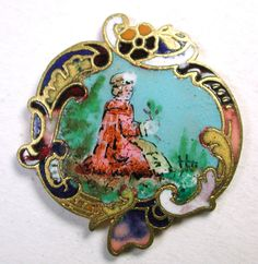 Antique French Enamel Button Woman Seated in Pasture Hold Flower Champleve Bdr