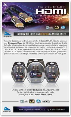 Nova linha de cabos ultra HD 4K HDMI com embalagem blister e design moderno exclusivo da Angular Cabos.
