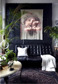 create a dark wall with a fabric wall hanging create a dark wall with. - create a dark wall with a fabric wall hanging create a dark wall with a fabric wall hang - Diy Casa, Interior Minimalista, Style Deco, Dark Interiors, Loft Interiors, Colorful Interiors, Home And Deco, Dream Decor, Contemporary Interior