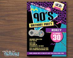 90s Theme House Party Digital Birthday Invitation Party